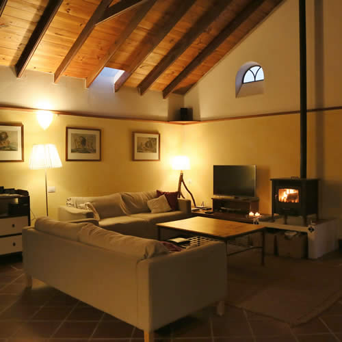 Living-room with woodstove and smart-tv Finca Chafariz Tabayesco